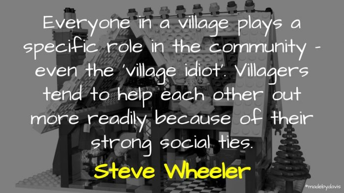 A quote from Steve Wheeler on the importance of the village and support networks