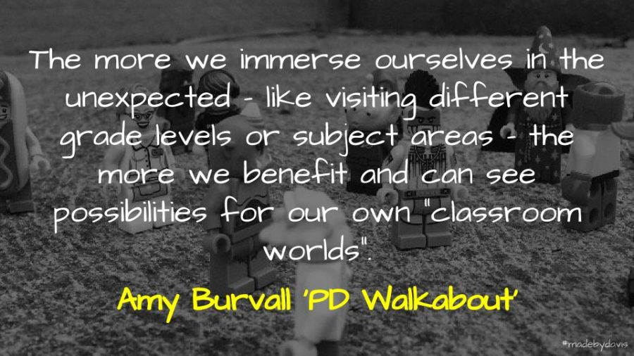 "The more we immerse ourselves in the unexpected – like visiting different grade levels or subject areas – the more we benefit and can see possibilities for our own ""classroom worlds"". Amy Burvall 'PD Walkabout'"